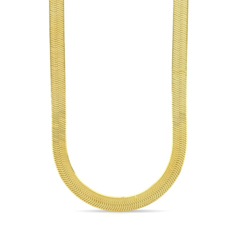 "Solid 14K Yellow Gold Diamond Cut Imperial Herringbone Chain Necklace // 5mm (20"" // 3.8g)"
