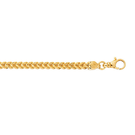 Solid 14K Yellow Gold Square Franco Bracelet // 3.9mm
