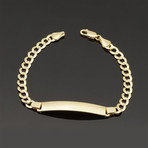Solid 14K Yellow Gold Curb Cuban ID Bracelet