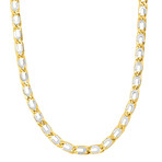 Solid 14K Yellow + White Gold Shiny Oval Necklace // 7mm
