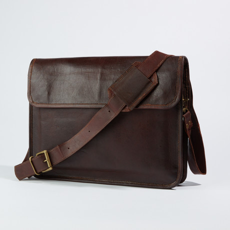 Leather Crossbody Messenger Bag // Medium Brown