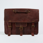 Leather Crossbody Messenger Bag I // Dark Brown