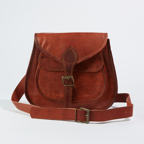 Leather Crossbody Sling Bag II // Chestnut Brown