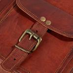 Leather Messenger Briefcase Bag I // Dark Brown