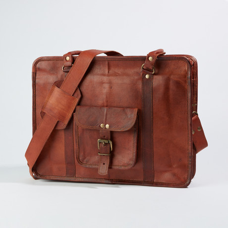 Leather Messenger Briefcase Bag I // Dark Brown