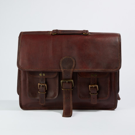 Leather Crossbody Messenger Bag // Chestnut Brown