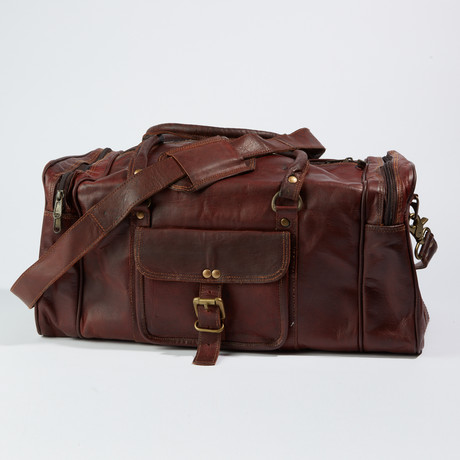 Leather Travel Duffel Bag // Dark Brown