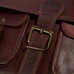Leather Crossbody Messenger Bag // Chestnut Brown