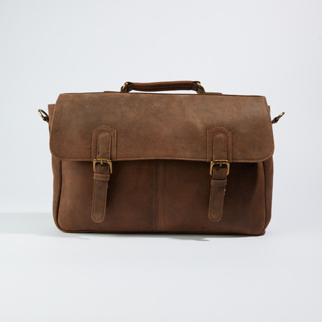 Crossbody Sling Messenger Briefcase bag // Dark Brown