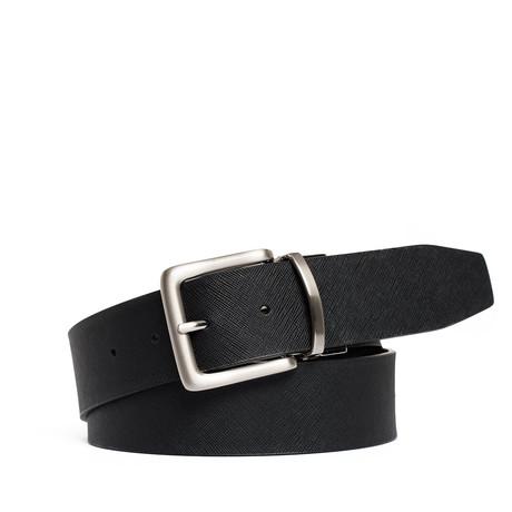 "Reversible Leather Belt // Black (32"" Waist)"