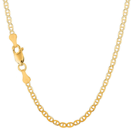 "Solid 10K Yellow Gold Mariner Link Chain Necklace // 3.2mm (18"")"