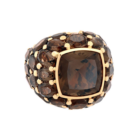 Mimi Milano 18k Rose Gold Smoky Quartz Ring // Ring Size: 6.75