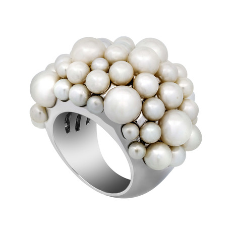 Mimi Milano 18k White Gold White Cultured Pearl Ring // Ring Size: 6.5