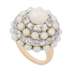 Mimi Milano 18k Two-Tone Gold White Sapphire + White Cultured Pearl Ring // Ring Size: 7.25