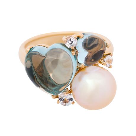 Mimi Milano 18k Rose Gold Multi-Stone Ring III // Ring Size: 7