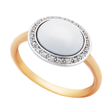 Mimi Milano 18k Two-Tone Gold White Agate + Diamond Ring // Ring Size: 7.75