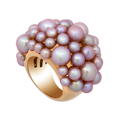 Mimi Milano 18k Rose Gold Violet Cultured Pearl Ring // Ring Size: 6