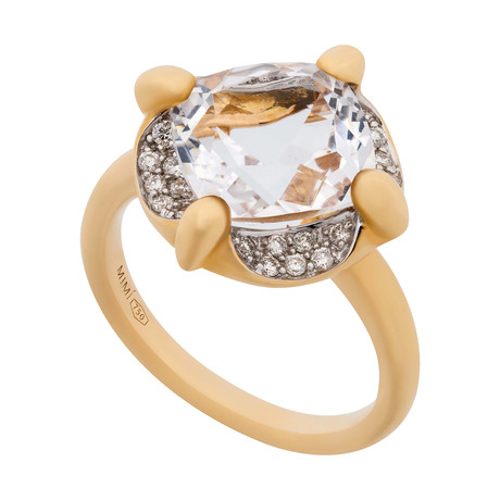 Mimi Milano 18k Two-Tone Gold Diamond + Rock Crystal Ring // Ring Size: 7