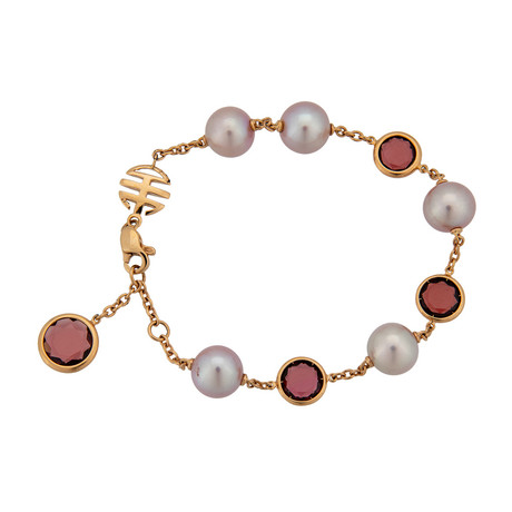 Mimi Milano 18k Rose Gold Garnet + Violet Cultured Pearls Bracelet