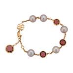 Mimi Milano 18k Rose Gold Garnet + Violet Cultured Pearls Bracelet