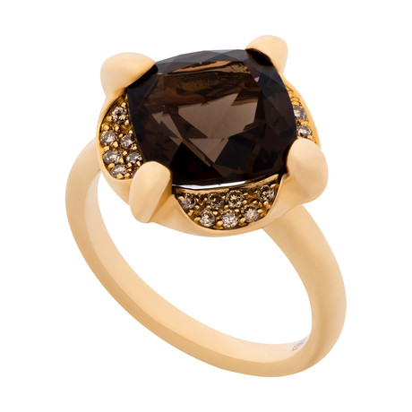 Mimi Milano 18k Two-Tone Gold Cognac Diamond + Smoky Quartz Ring // Ring Size: 7