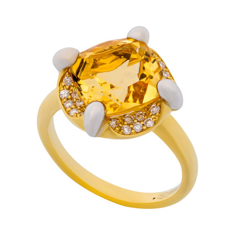 Mimi Milano 18k Two-Tone Gold Diamond + Citrine Ring // Ring Size: 7