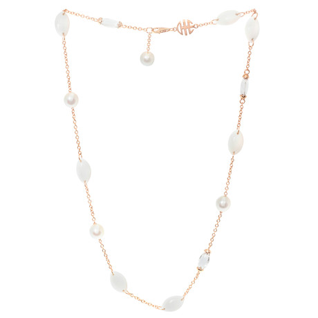 Mimi Milano 18k Rose Gold White Agate Rock Crystal + White Cultured Pearls Necklace