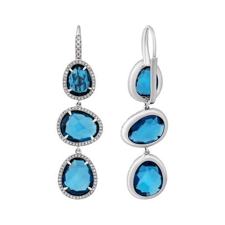 Mimi Milano 18k White Gold Diamond + London Blue Topaz Earrings II