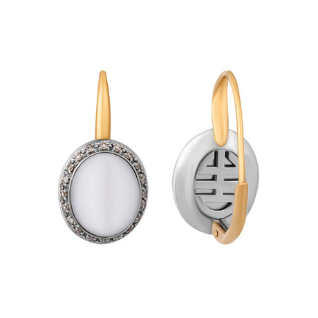 Mimi Milano 18k Two-Tone Gold White Agate + Diamond Earrings