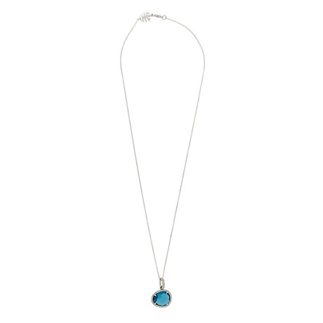 Mimi Milano 18k White Gold Diamond + London Blue Topaz Pendant Necklace III