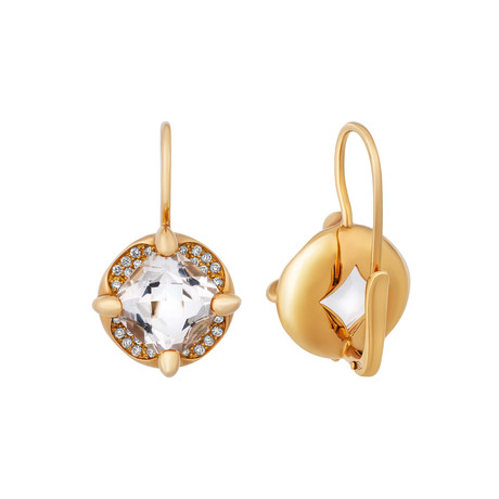 Mimi Milano 18k Two-Tone Gold Diamond + Rock Crystal Earrings