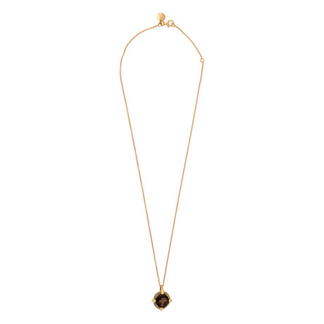 Mimi Milano 18k Rose Gold Smoky Quartz + Cognac Diamond Pendant Necklace
