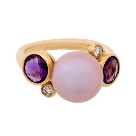 Mimi Milano 18k Rose Gold Multi-Stone Ring II // Ring Size: 7