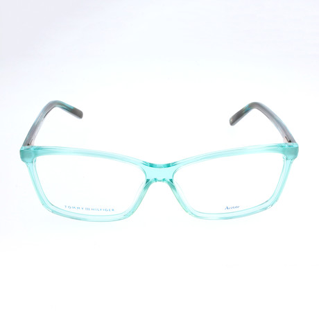 Women's 1123-0L4 Optical Frames // Azure + Striped Green