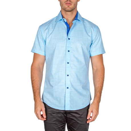 Kaiden Short Sleeve Button-Up Shirt // Turquoise (XS)