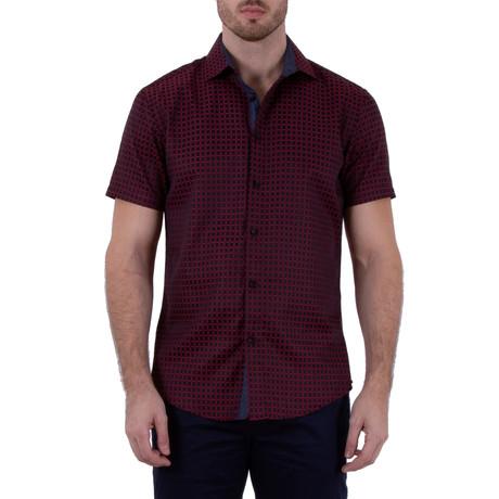 Yael Short Sleeve Button-Up Shirt // Red (XS)