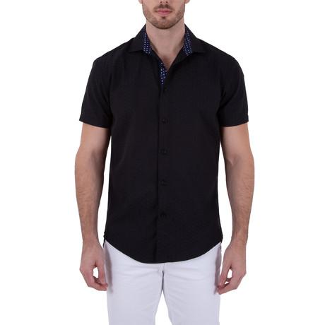 Samir Short Sleeve Button-Up Shirt // Black (XS)