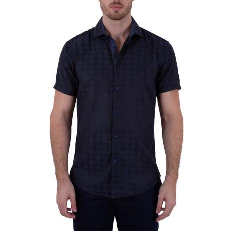 Kellen Short Sleeve Button-Up Shirt // Navy (XS)