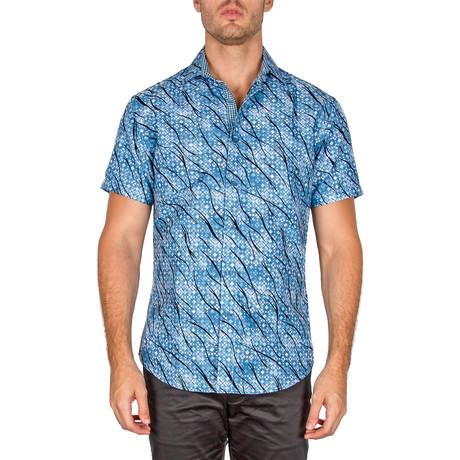 Ronald Short Sleeve Button-Up Shirt // Blue (XS)