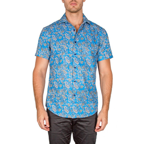 Jovanni Short Sleeve Button-Up Shirt // Turquoise (XS)