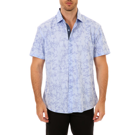 Damarion Short Sleeve Button-Up Shirt // Blue (XS)