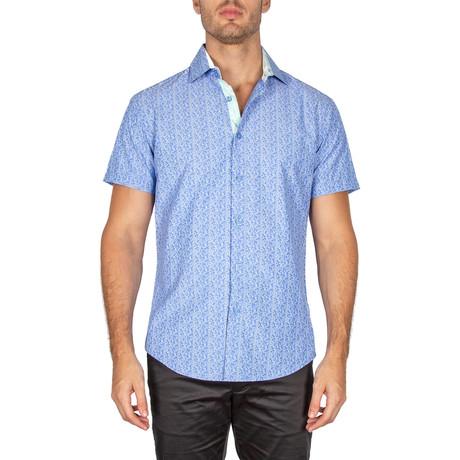 Tate Short Sleeve Button-Up Shirt // Blue (XS)