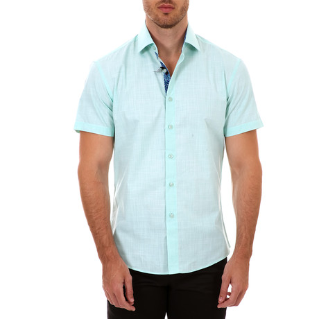 Marlon Short Sleeve Button-Up Shirt // Turquoise (XS)