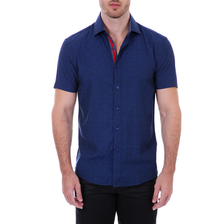 Devyn Short Sleeve Button-Up Shirt // Navy (XS)