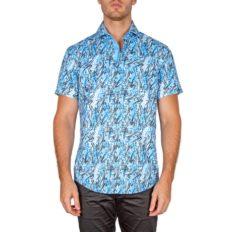Malachi Short Sleeve Button-Up Shirt // Turquoise (3XL)