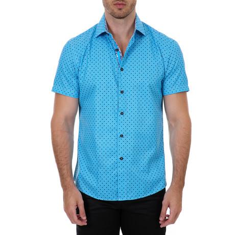Nasir Short-Sleeve Button-Up Shirt // Blue (XS)