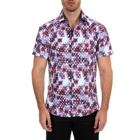 Zechariah Short Sleeve Button-Up Shirt // Red (XS)