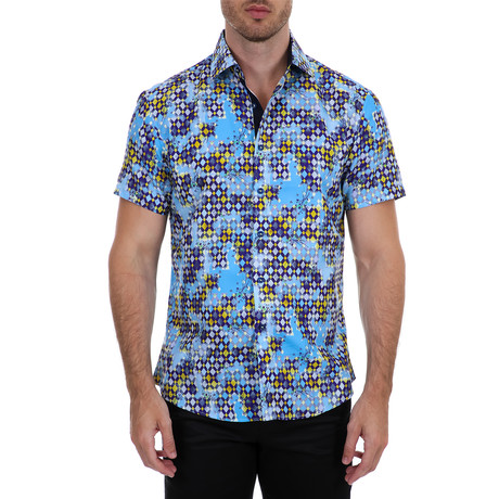 Antonio Short Sleeve Button-Up Shirt // Blue (XS)