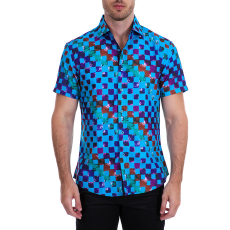 Kolton Short-Sleeve Button-Up Shirt // Blue (XS)