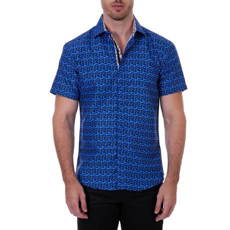 Evan Short Sleeve Button-Up Shirt // Navy (XS)